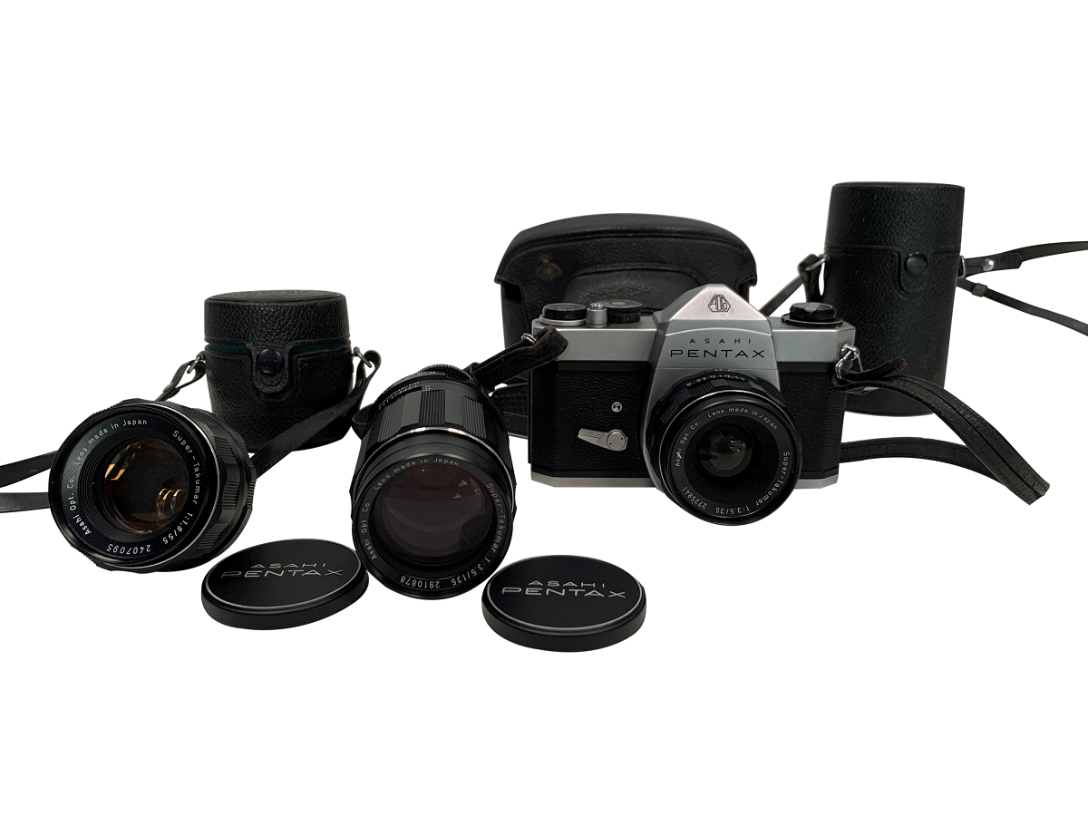 Antiga Camera Fotografica Pentax Com Acessorios