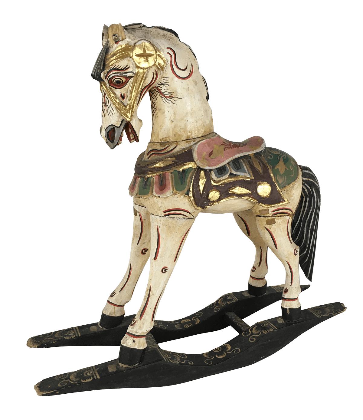 Antiga Cavalo Em Madeira 46cm