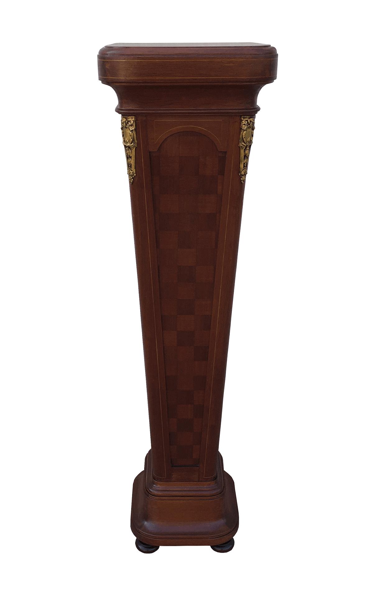 Antiga Coluna Em Madeira Marchetada Apliques Bronze Belissima