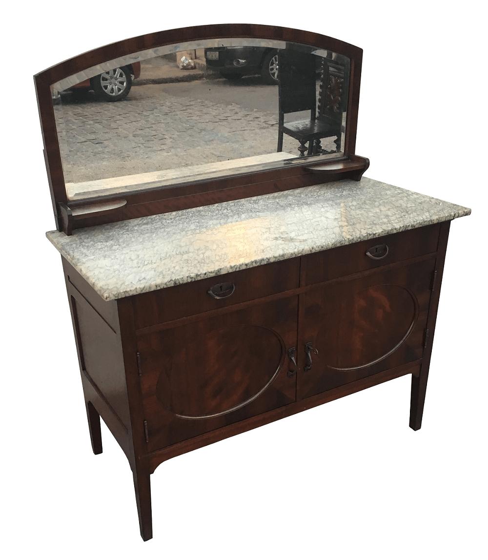 Antiga Comoda Com Espelho Bisotado Tampo De Marmore