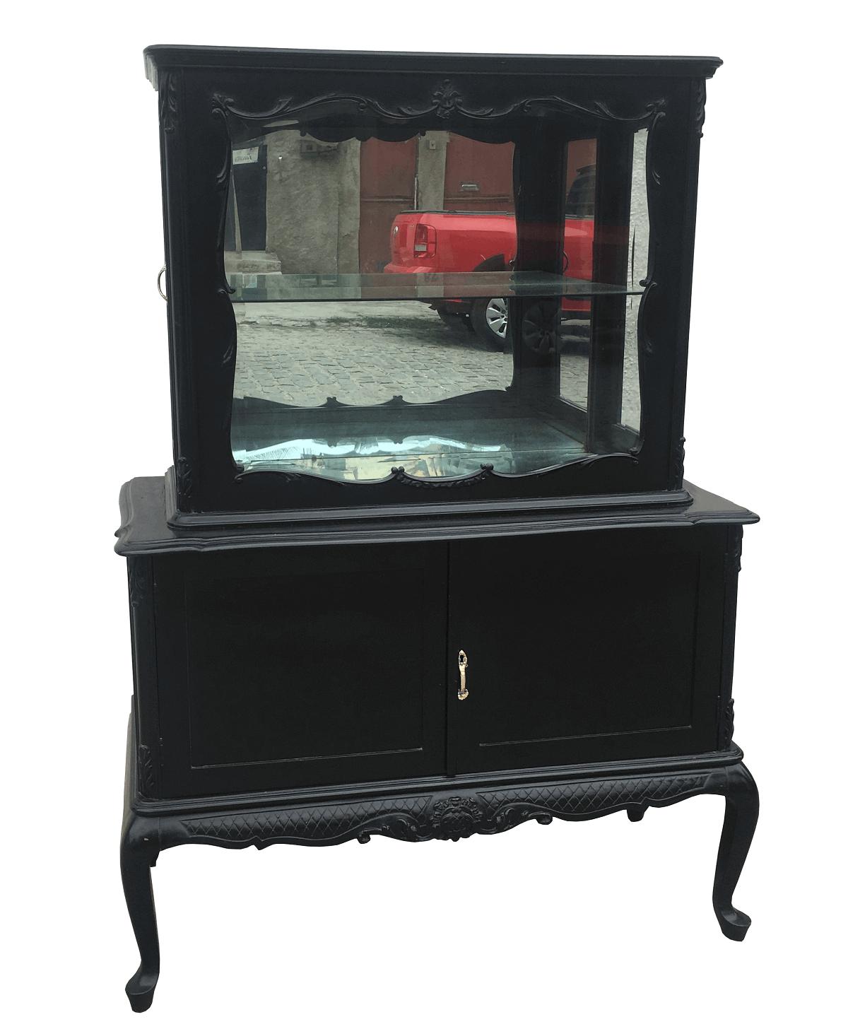 Antiga Cristaleira Luis Xv Preta Vidros Bisotados