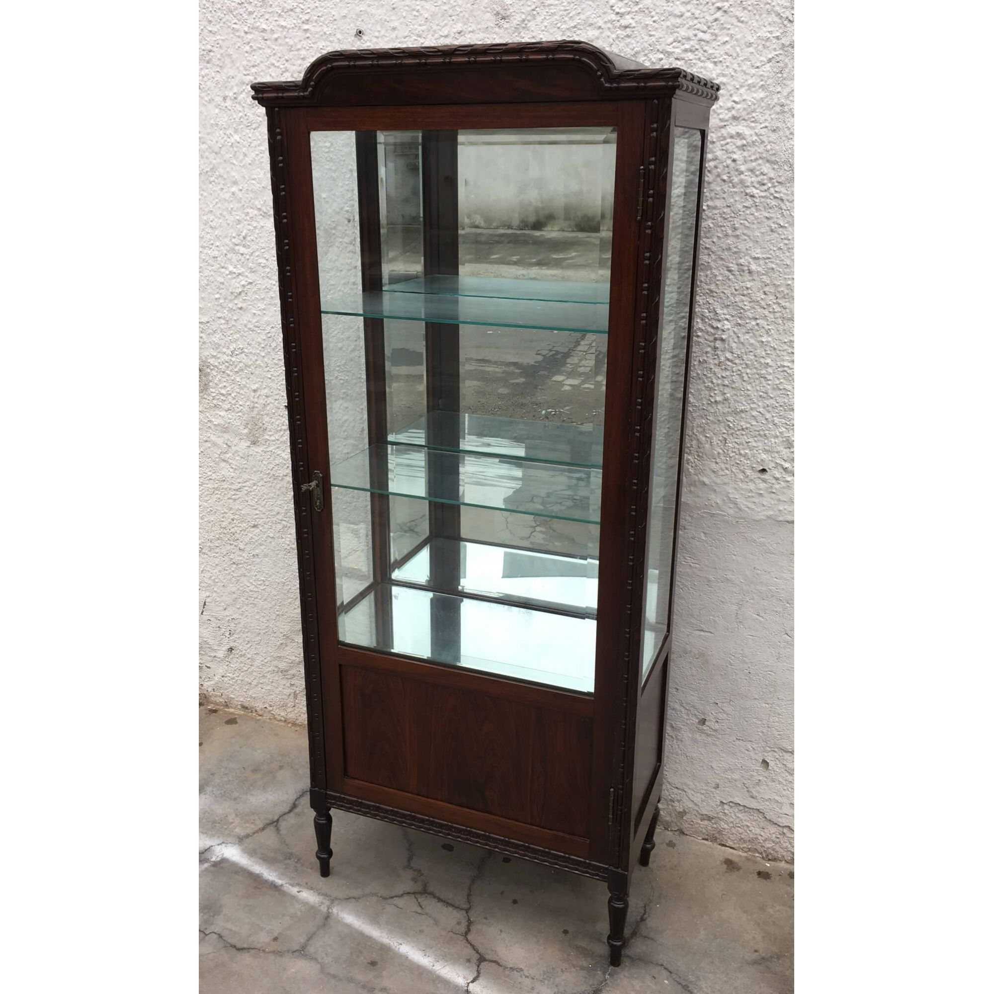 Antiga Cristaleira Luis Xvi Madeira Nobre Vidros Bisotados