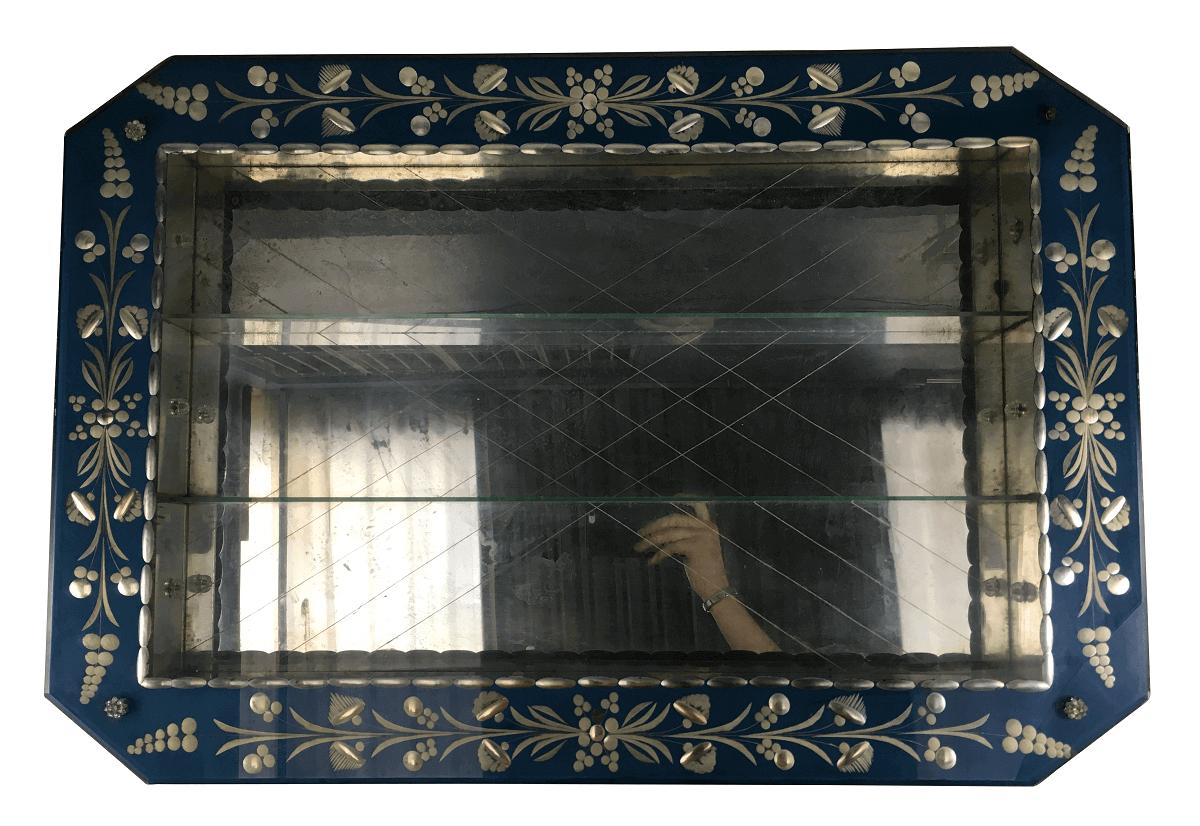 Antiga Cristaleira Veneziana De Parede Belissima