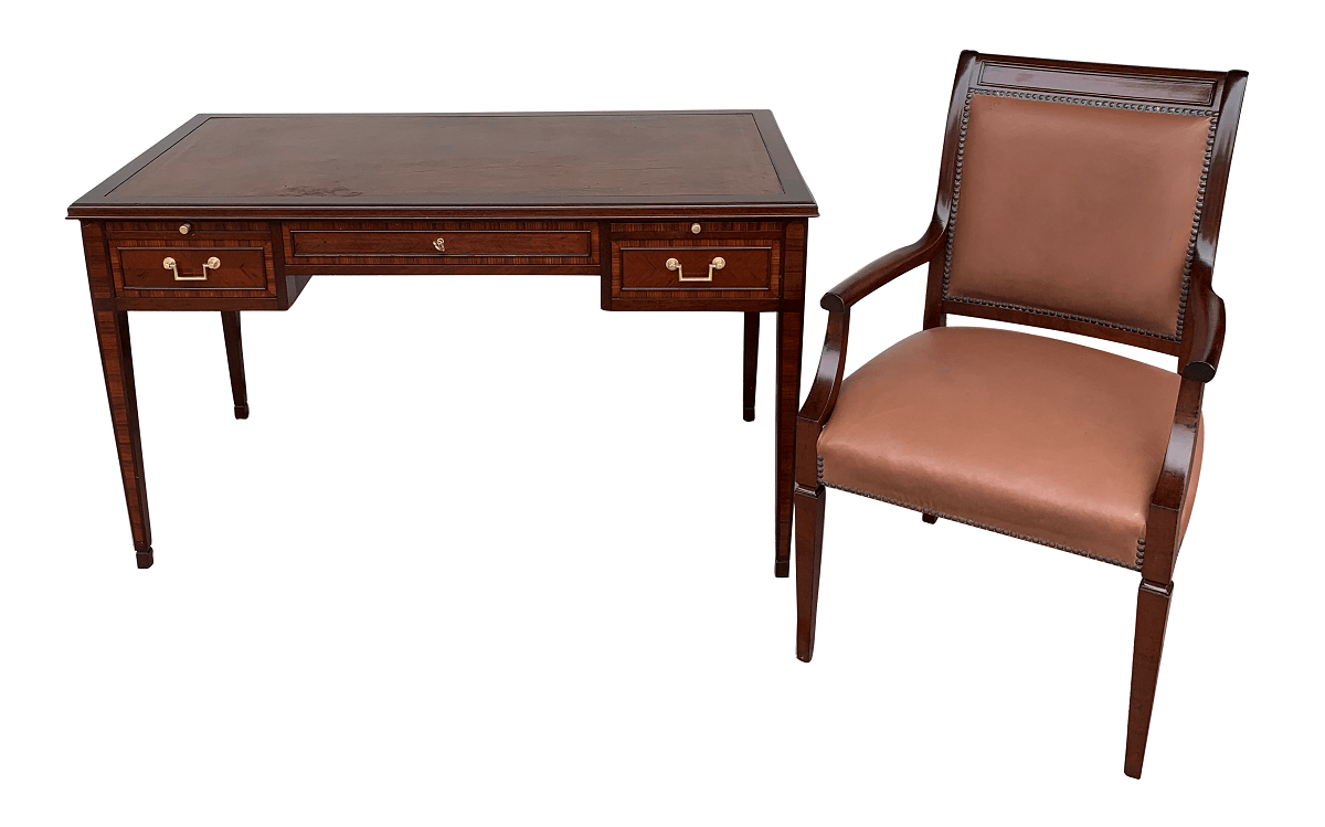 Antiga Escrivaninha Inglesa Tampo Couro Com Cadeira