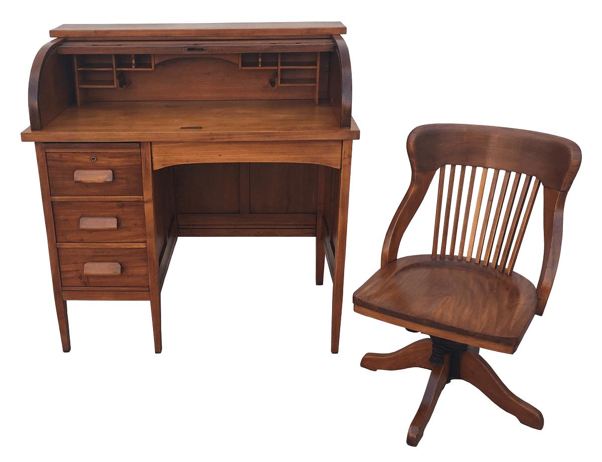 Antiga Escrivaninha Xerife Com Cadeira Belissima