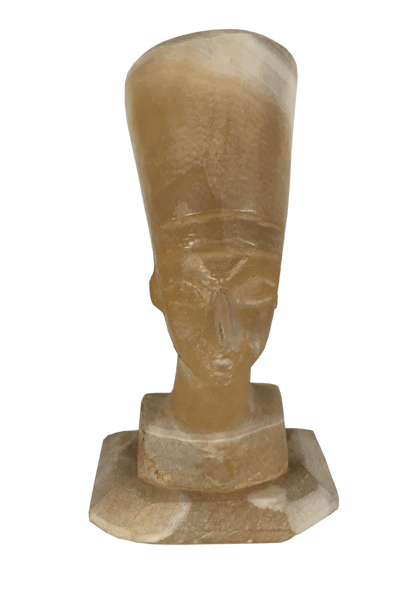 Antiga Escultura Alabastro Busto Nefertiti