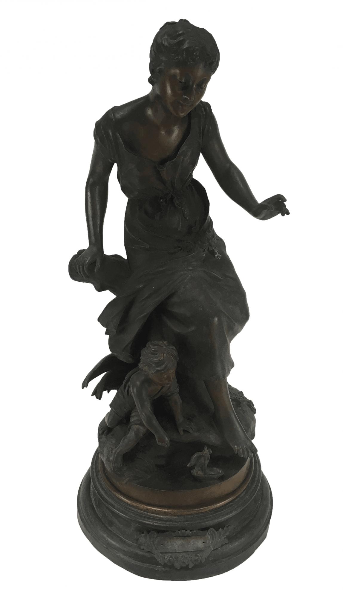 Antiga Escultura Bronze Assinada 72cm Mae E Filho
