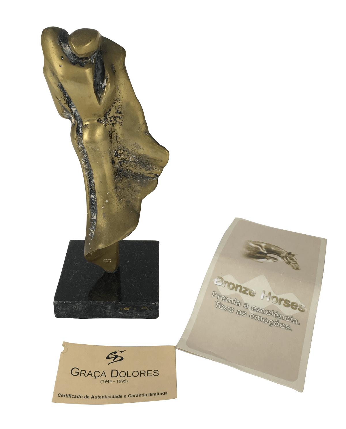 Antiga Escultura Bronze Assinada Graça Dolores Com Certificado