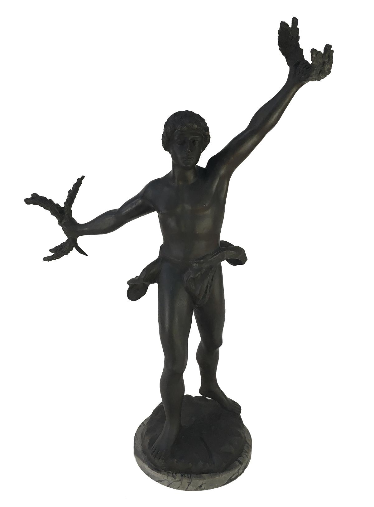 Antiga Escultura Bronze Guerreiro Mitologico Coroa De Louros 74cm