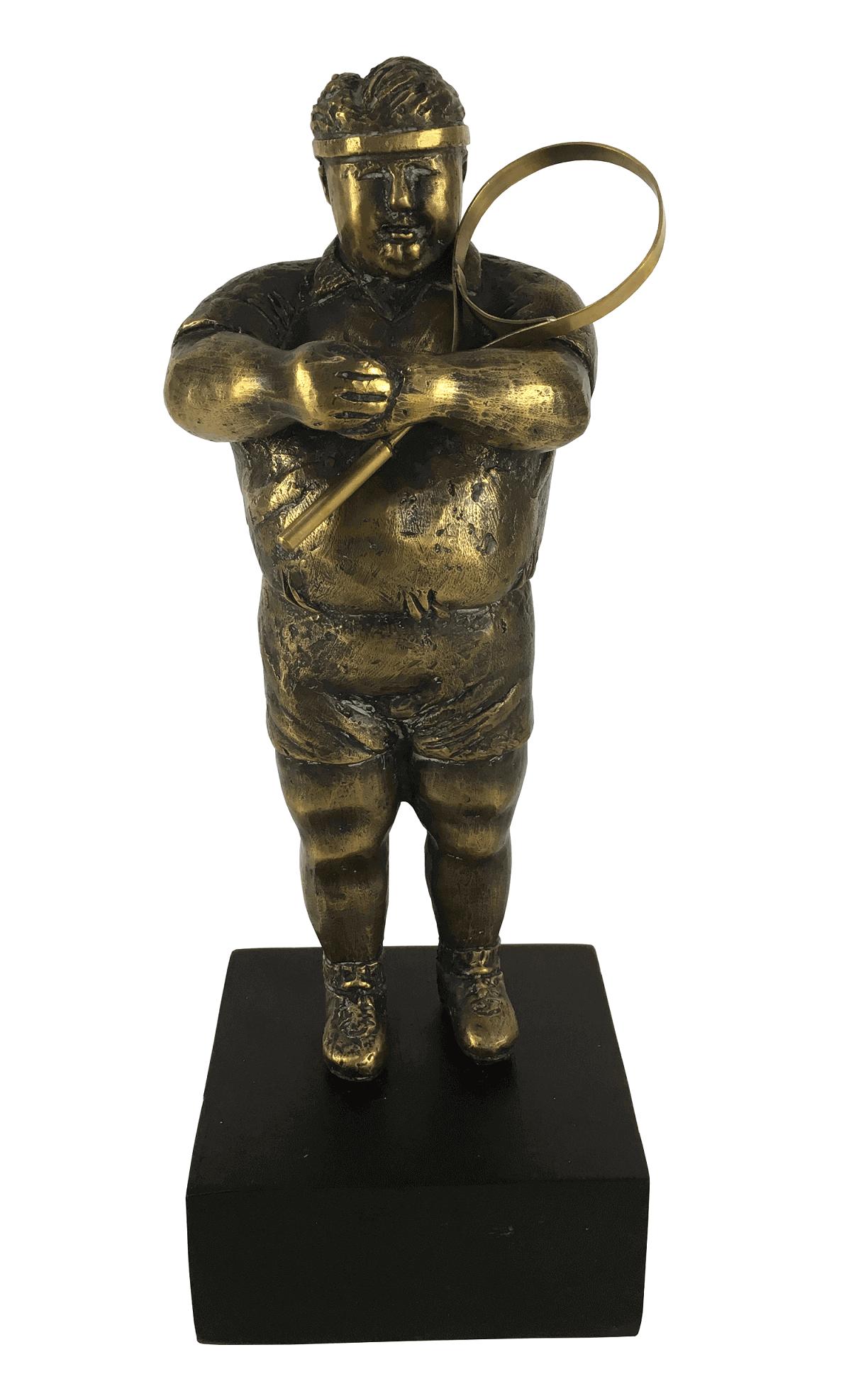 Antiga Escultura Bronze Jogador De Tenis Gordinho