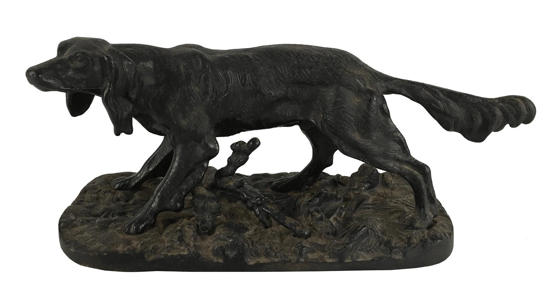 Antiga Escultura Cachorro Em Metal