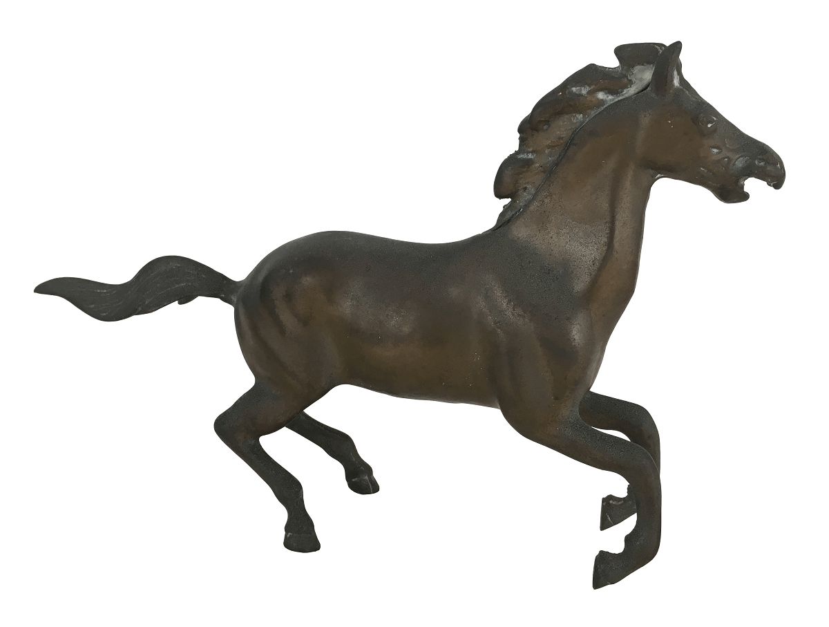 Antiga Escultura Cavalo Em Bronze