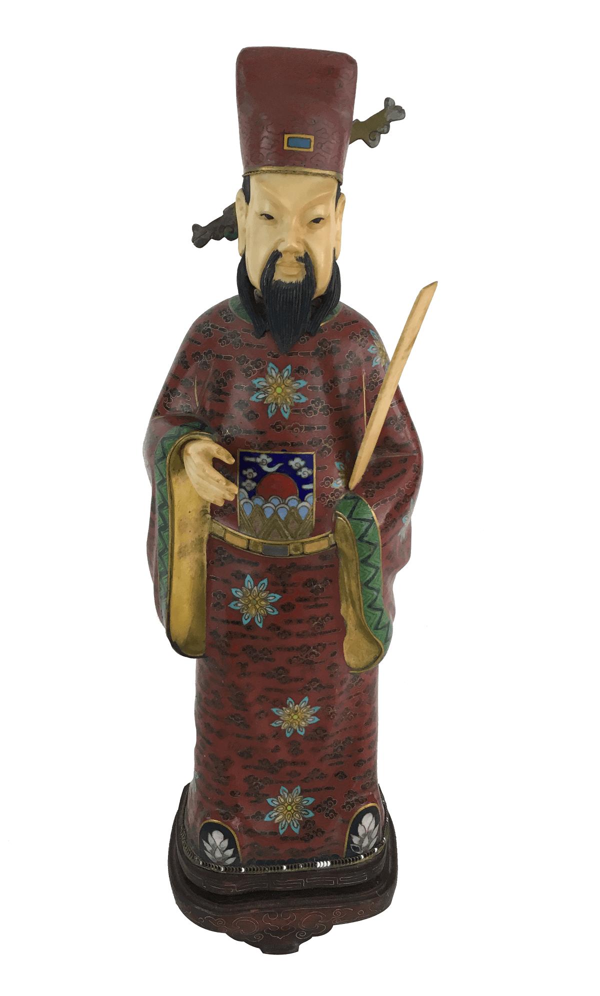 Antiga Escultura Chinesa Em Cloisonne E Marfim Na Caixa Original