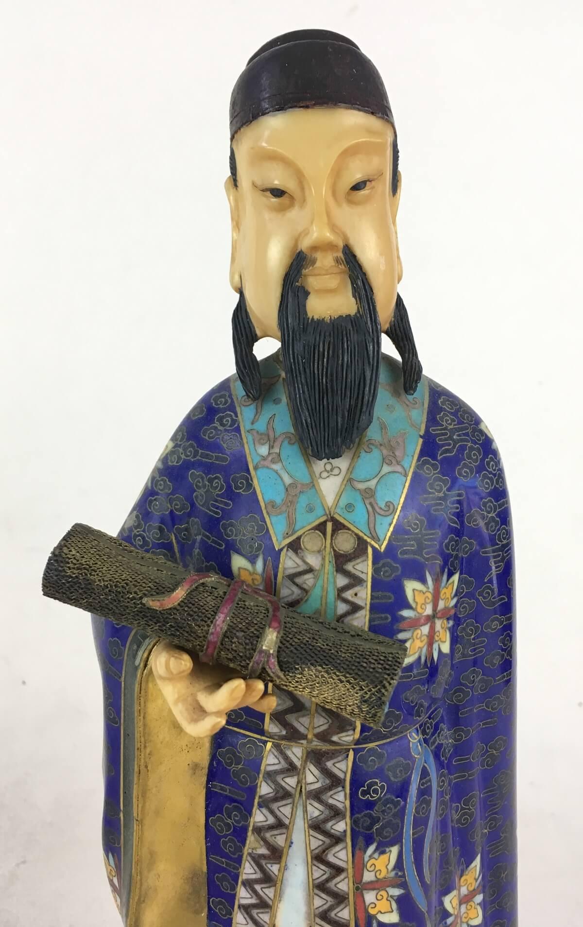 Antiga Escultura Chinesa Em Marfim E Cloisonne Na Caixa Original