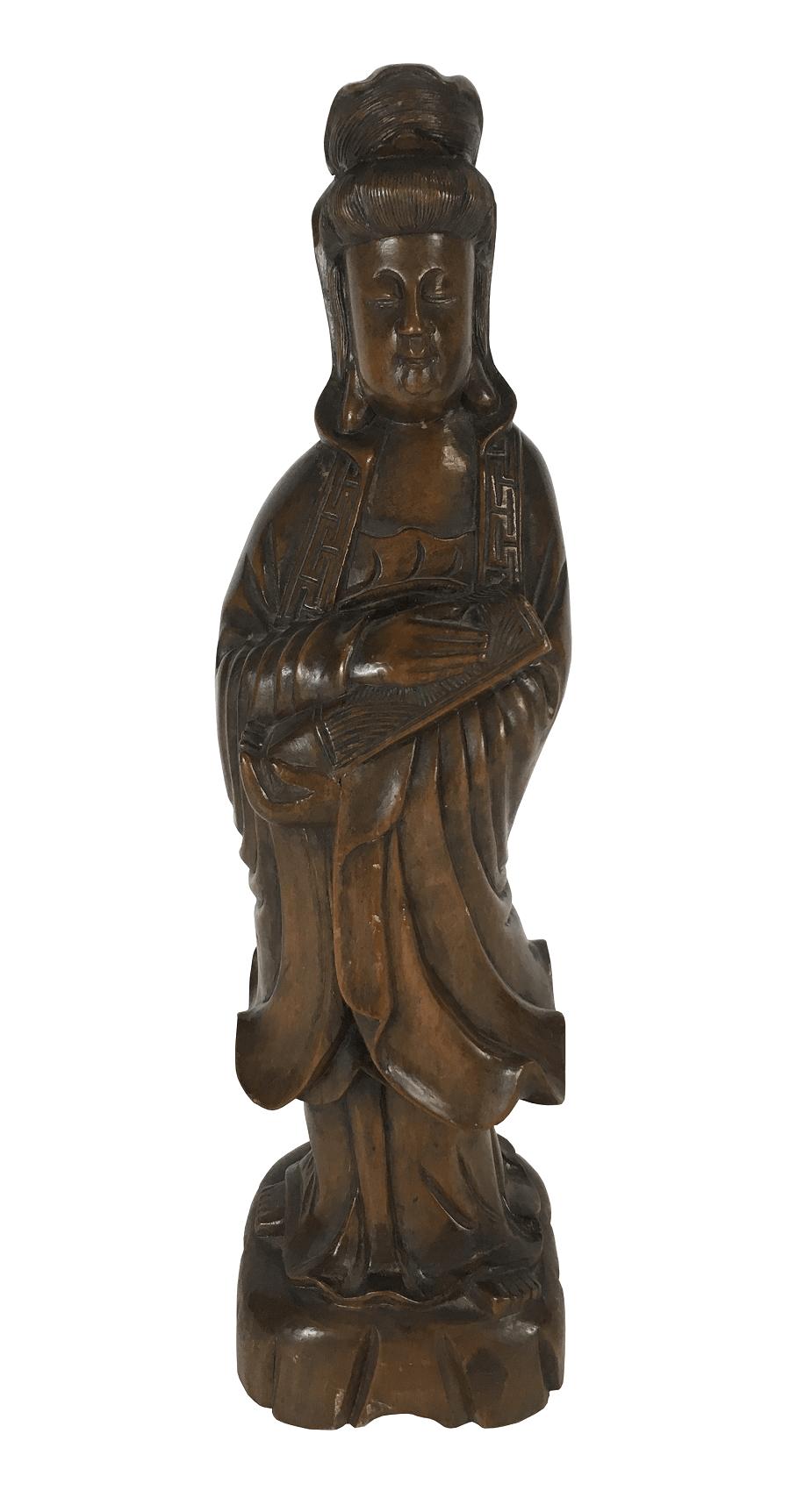 Antiga Escultura Chinesa Madeira Gueixa 46cm