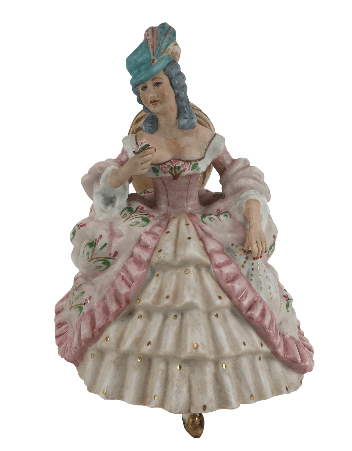 Antiga Escultura Dama Em Porcelana Biscuit 17cm Altura