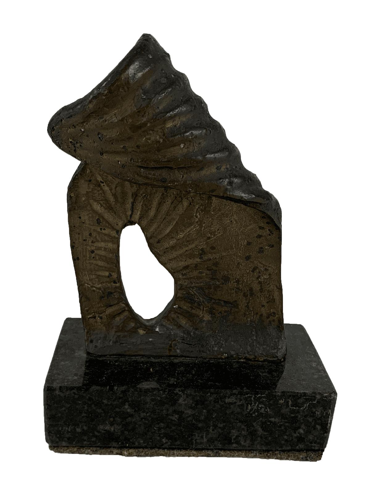 Antiga Escultura De Bronze Abstrato Base Granito