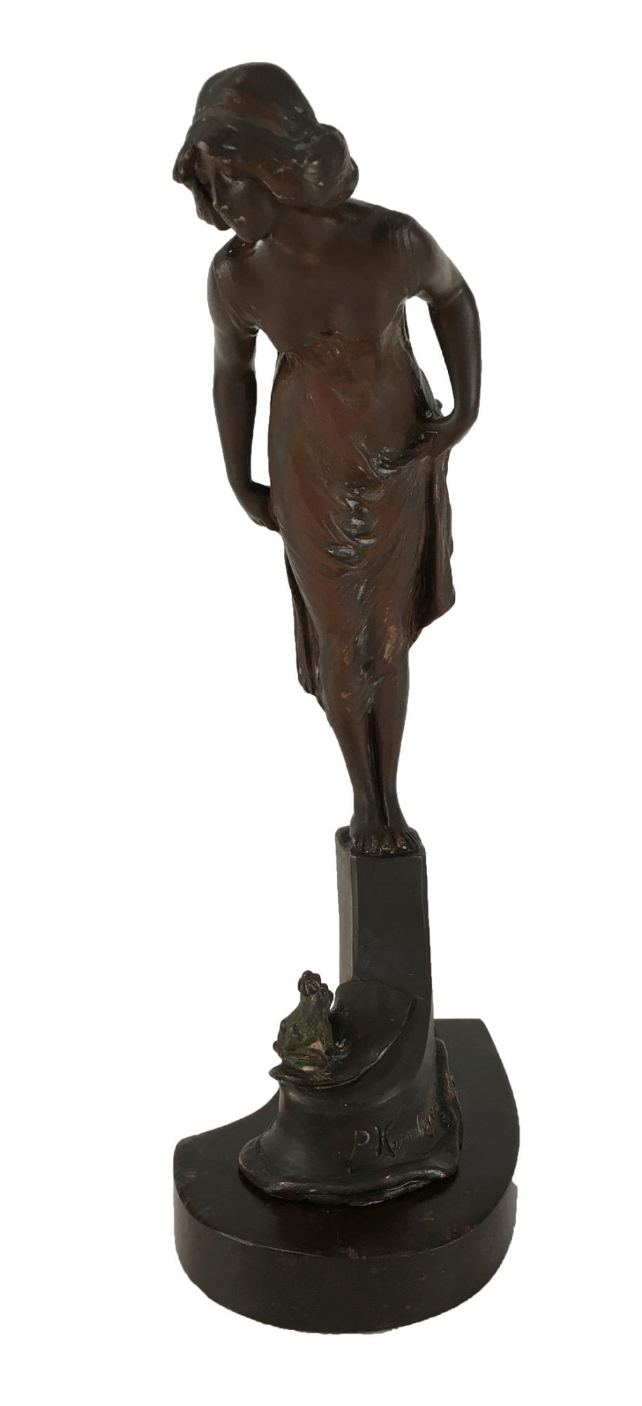Antiga Escultura De Bronze Art Noveau Europeia Assinado