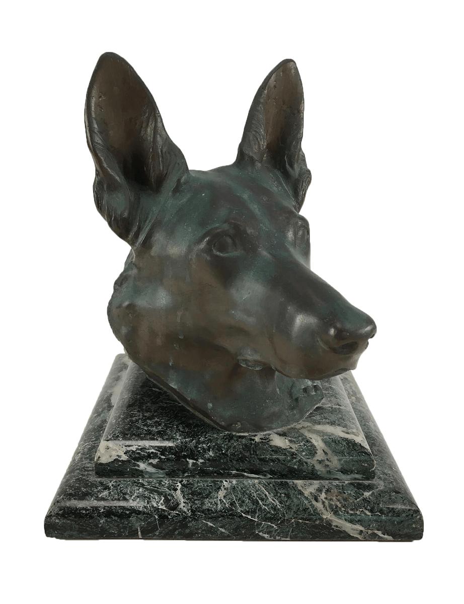 Antiga Escultura De Bronze Cachorro Base Granito