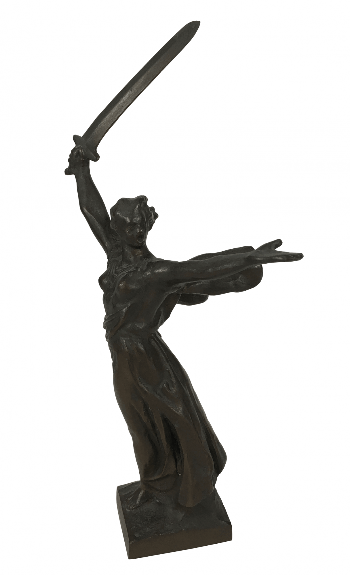 Antiga Escultura Em Bronze Guerreira Com Espada