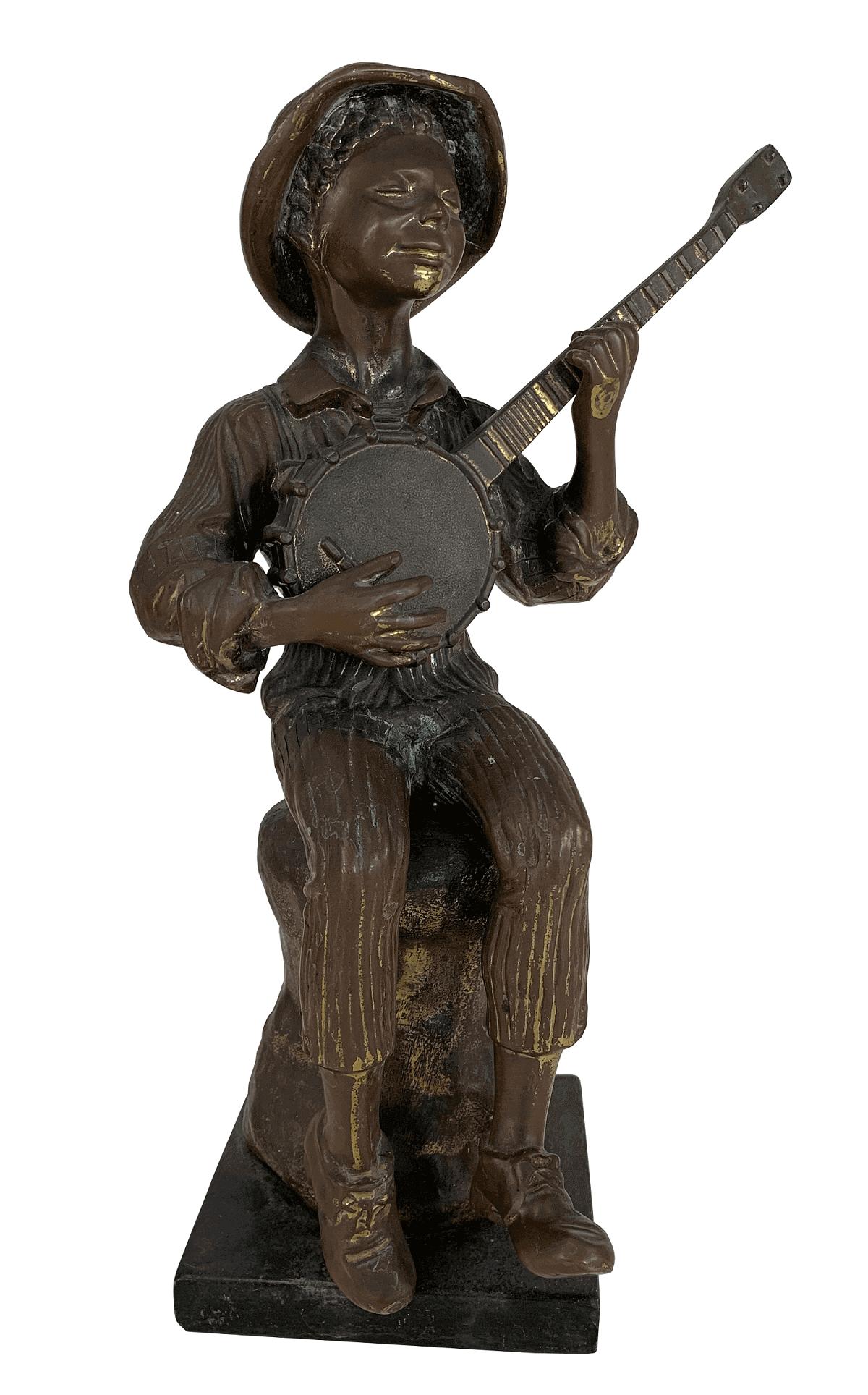 Antiga Escultura Em Bronze Menino Tocando Violao 35cm