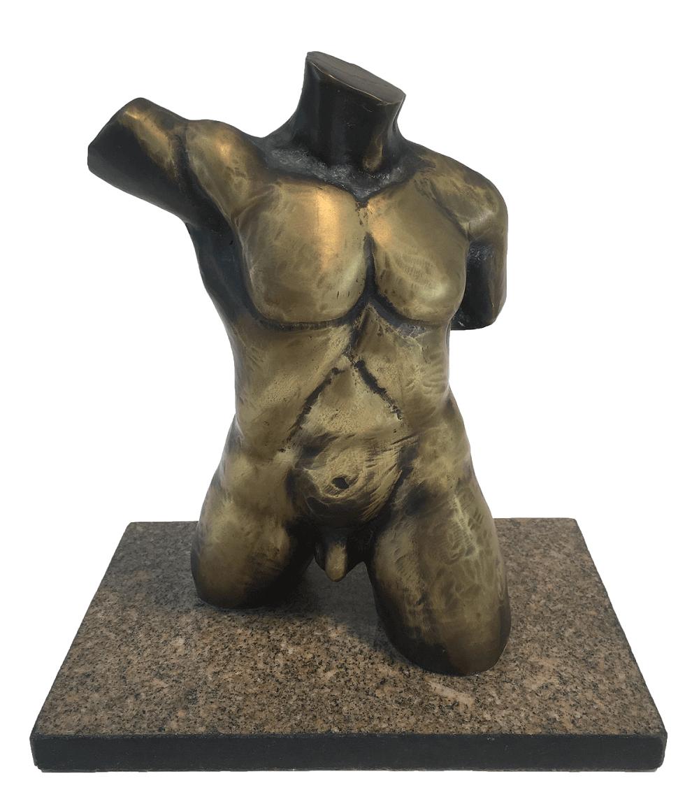 Antiga Escultura Em Bronze Torso Masculino Nu