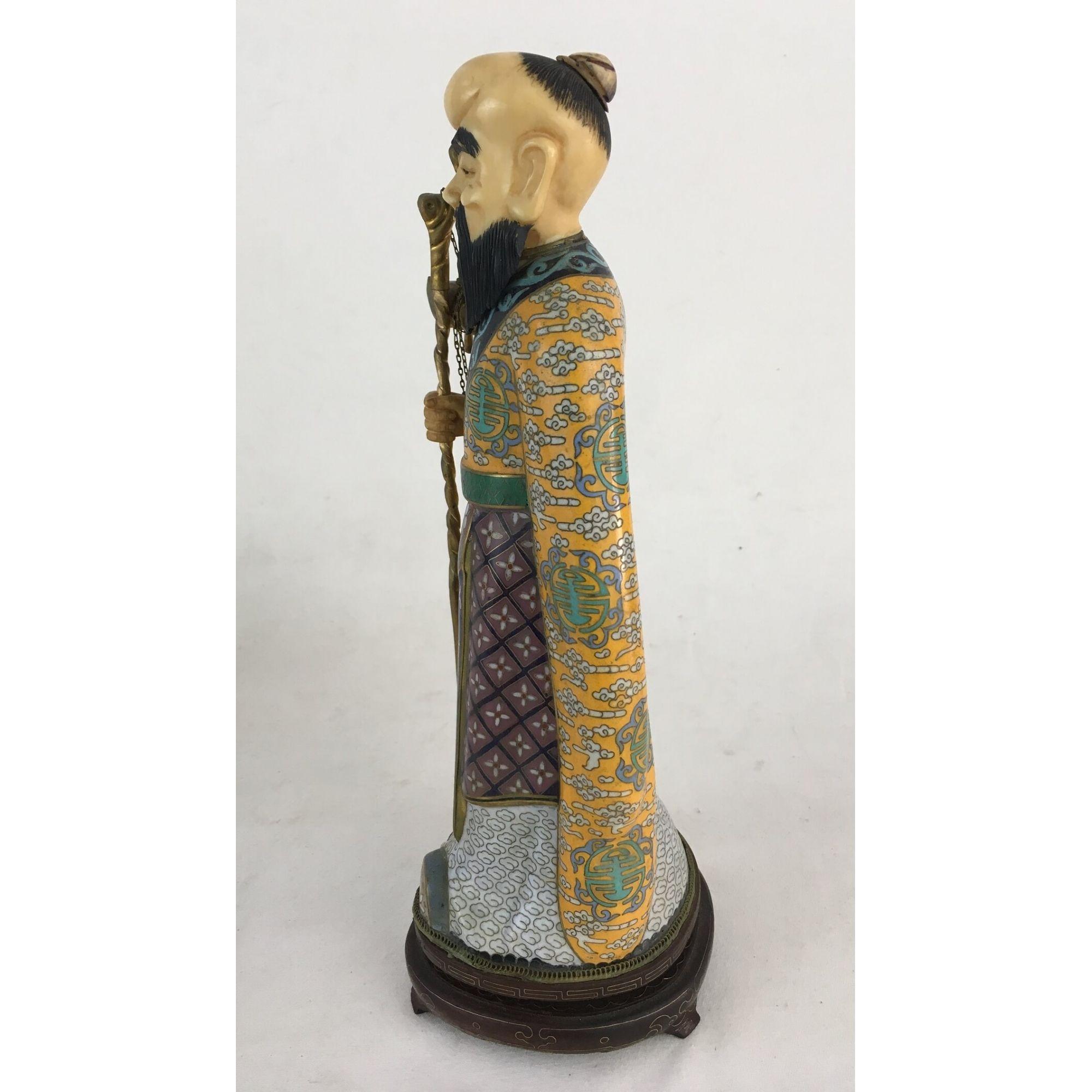 Antiga Escultura Em Cloisonne E Marfim Chinesa Na Caixa Original