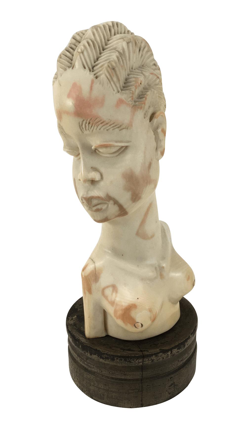 Antiga Escultura Em Marfim Mulher Africana