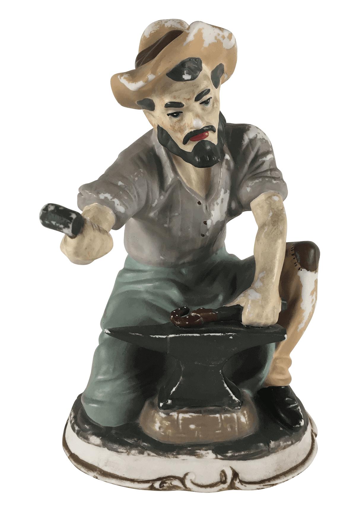 Antiga Escultura Ferreiro Em Porcelana Pedreira
