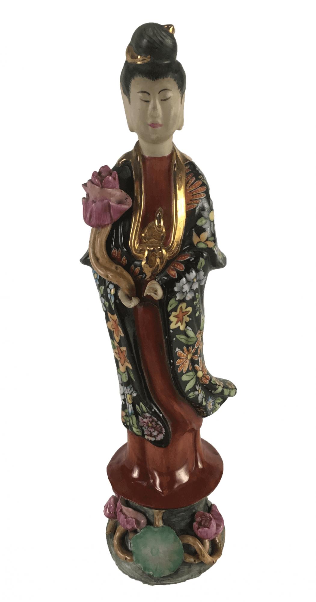 Antiga Escultura Gueixa Porcelana Chinesa Policromia E Ouro