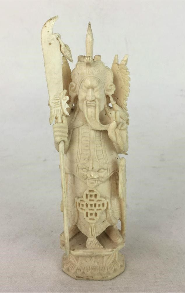 Antiga Escultura Guerreiro Samurai Chinês Marfim