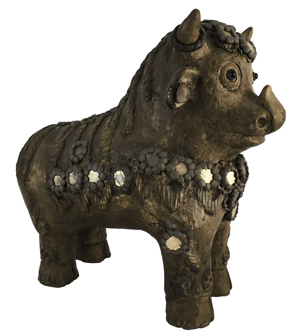 Antiga Escultura Indiana Touro Em Terracota