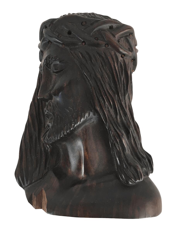 Antiga Escultura Jacaranda Cristo Coroa De Espinho