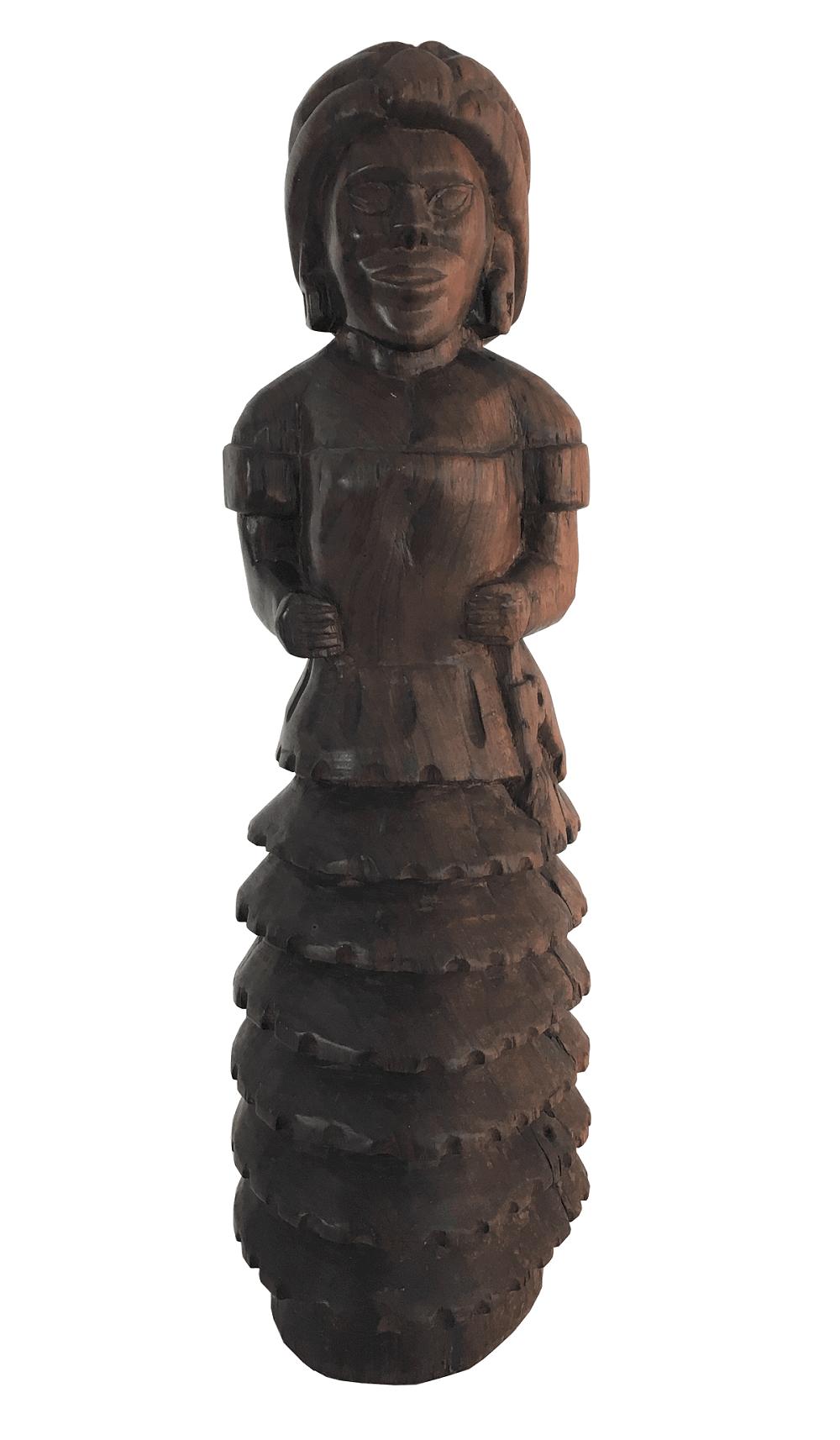 Antiga Escultura Jacaranda Maciço Unico Bloco Baiana