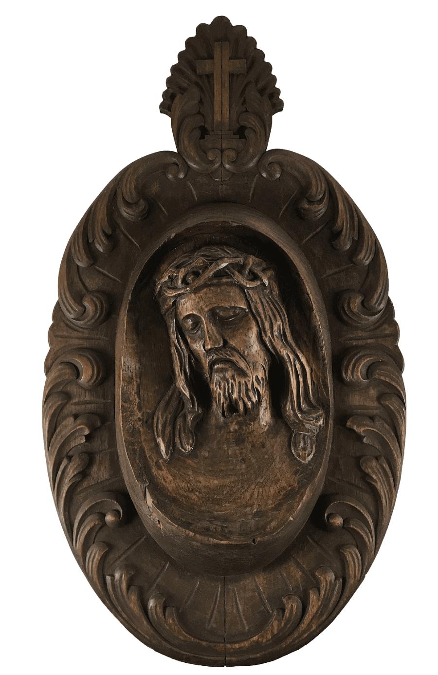 Antiga Escultura Madeira Cristo Parede