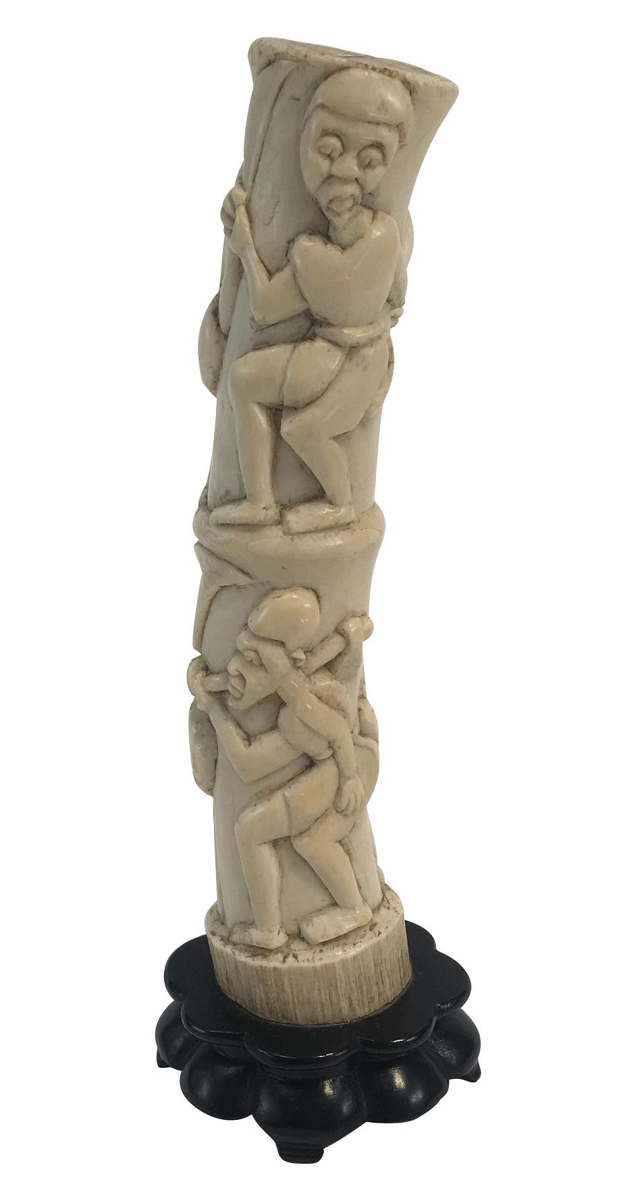 Antiga Escultura Marfim Africano Primatas