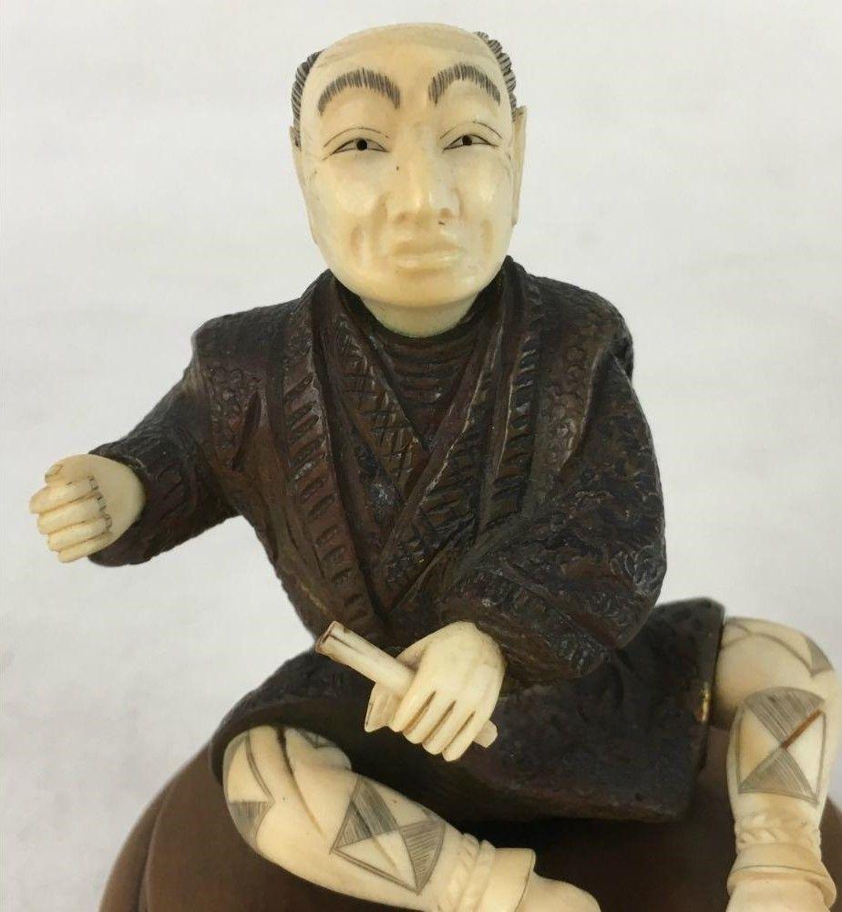 Antiga Escultura Marfim E Bronze Chinês