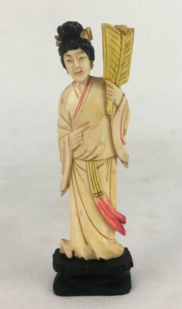 Antiga Escultura Marfim Gueixa Com Abanador