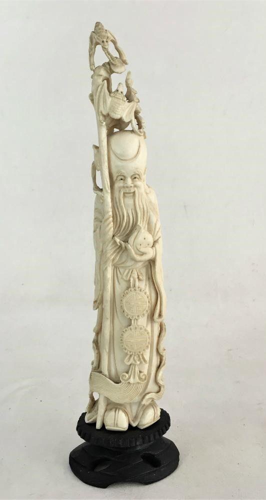 Antiga Escultura Marfim Monge 31cm Altura