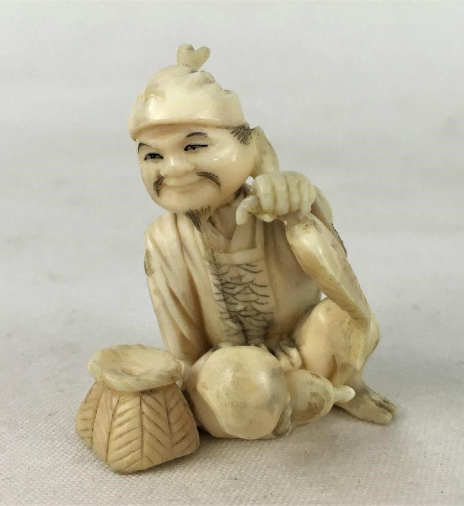 Antiga Escultura Marfim Pescador Chinês Assinada