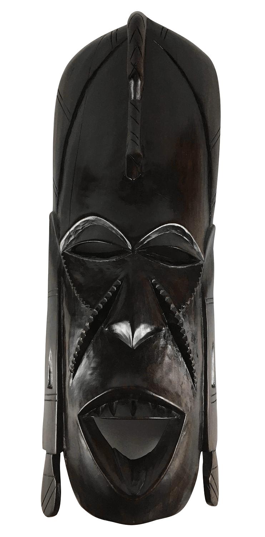 Antiga Escultura Mascara Africana Em Madeira