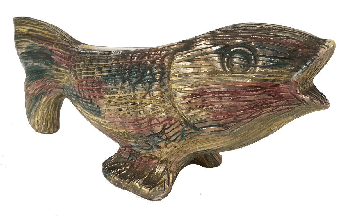 Antiga Escultura Peixe Em Ceramica 40cm
