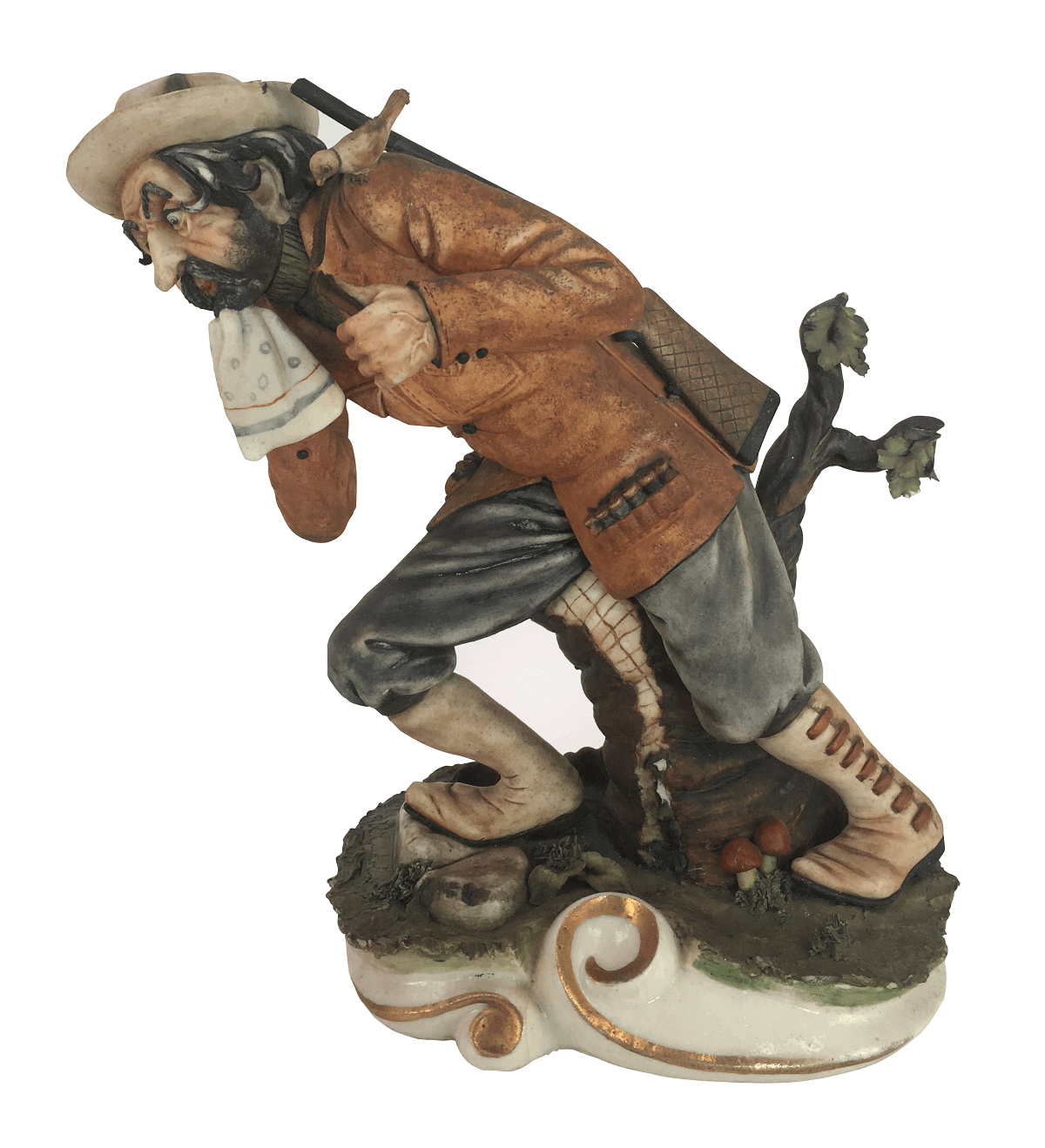 Antiga Escultura Porcelana Capodimonte Caçador