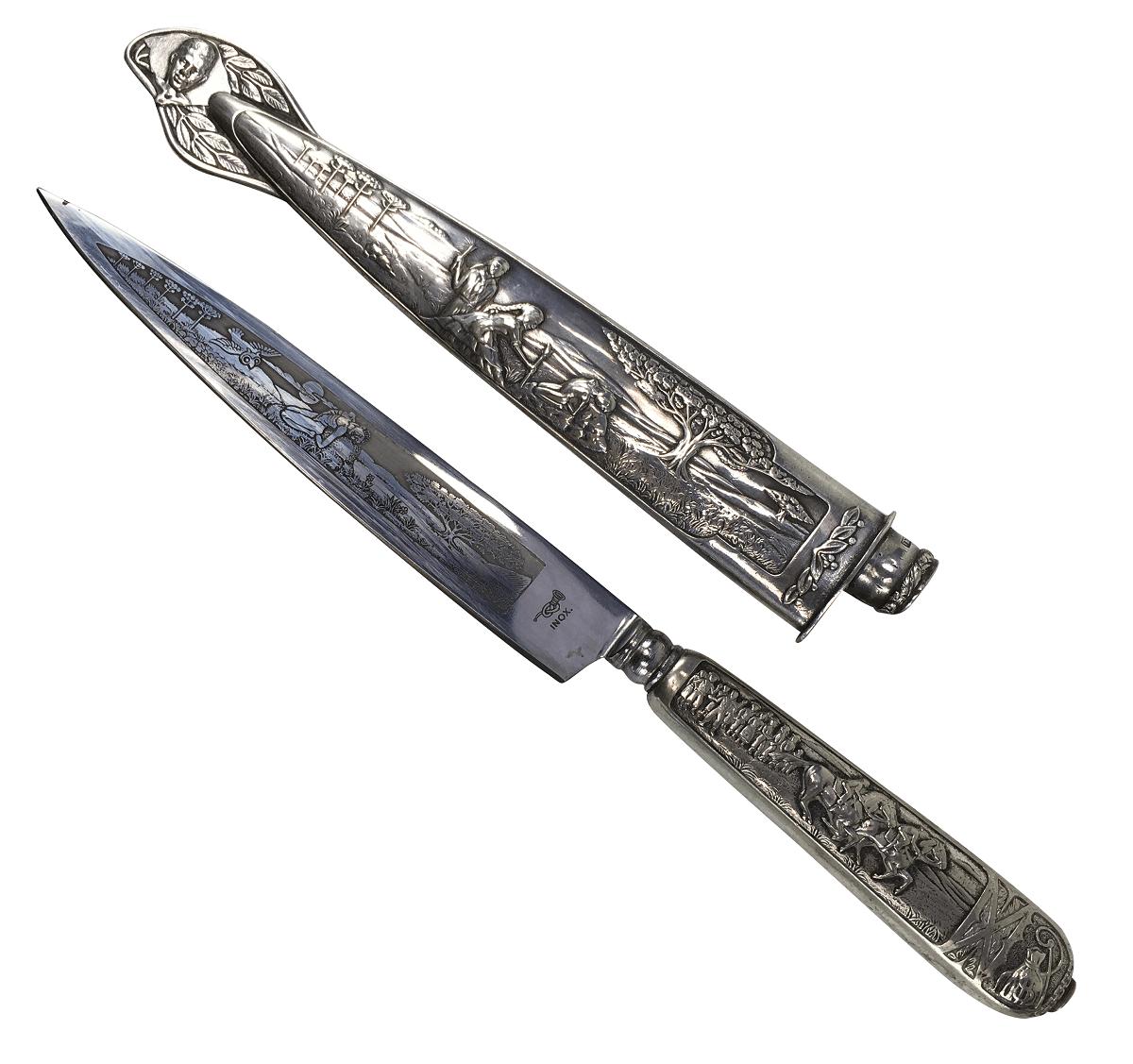 Antiga Faca Gaucha Corneta Prata 90 Eberle 28cm