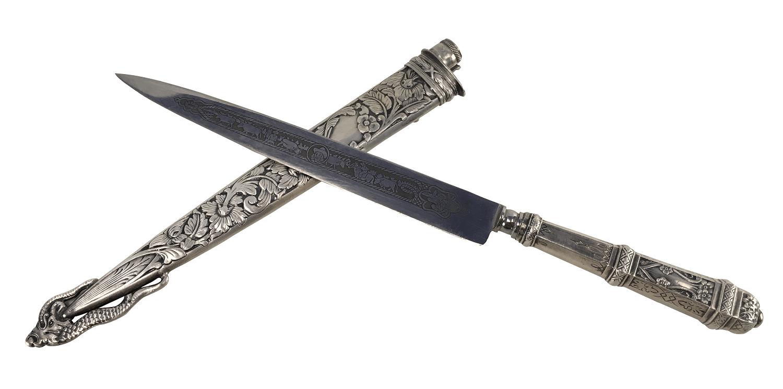 Antiga Faca Gaucha Prata 90 Corneta 31cm Belissima
