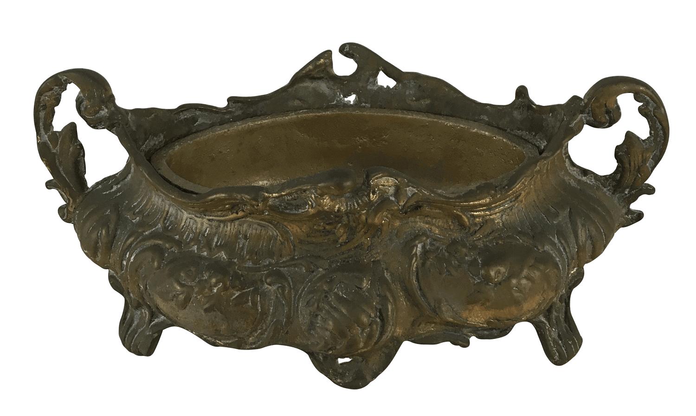 Antiga Floreira De Bronze Maciço
