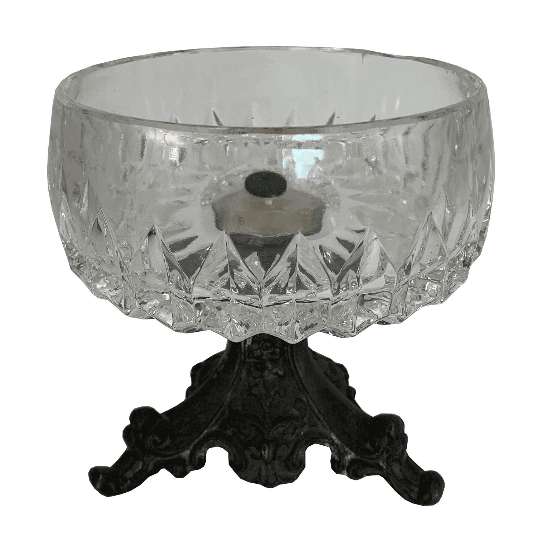 Antiga Fruteira Pequena Centro De Mesa Cristal Pe Metal