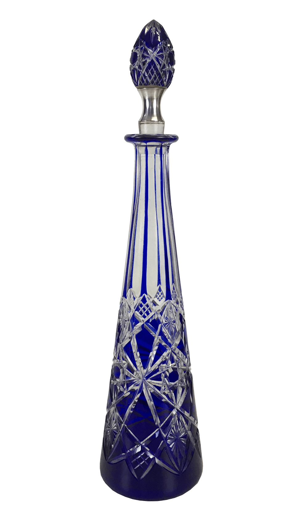 Antiga Garrafa Licoreira Cristal Baccarat Azul Detalhe Prata