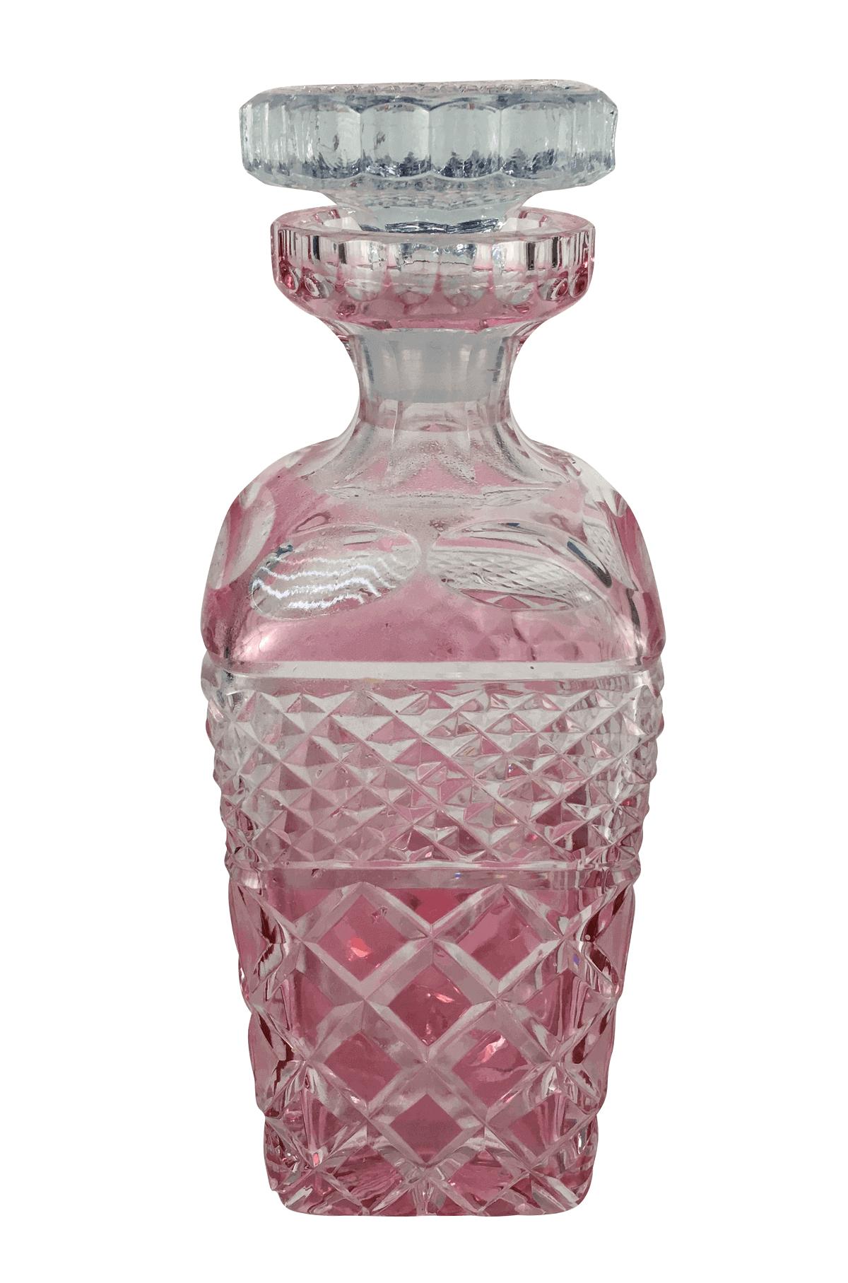Antiga Garrafa Licoreira Cristal Europeu Rosa Magnifico