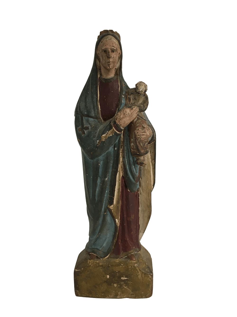 Antiga Imagem Sacra Em Madeira
